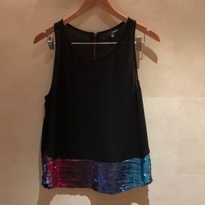 Black top with colored sequins